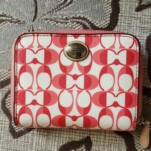 White and pink coach wallet with c emblem NWT